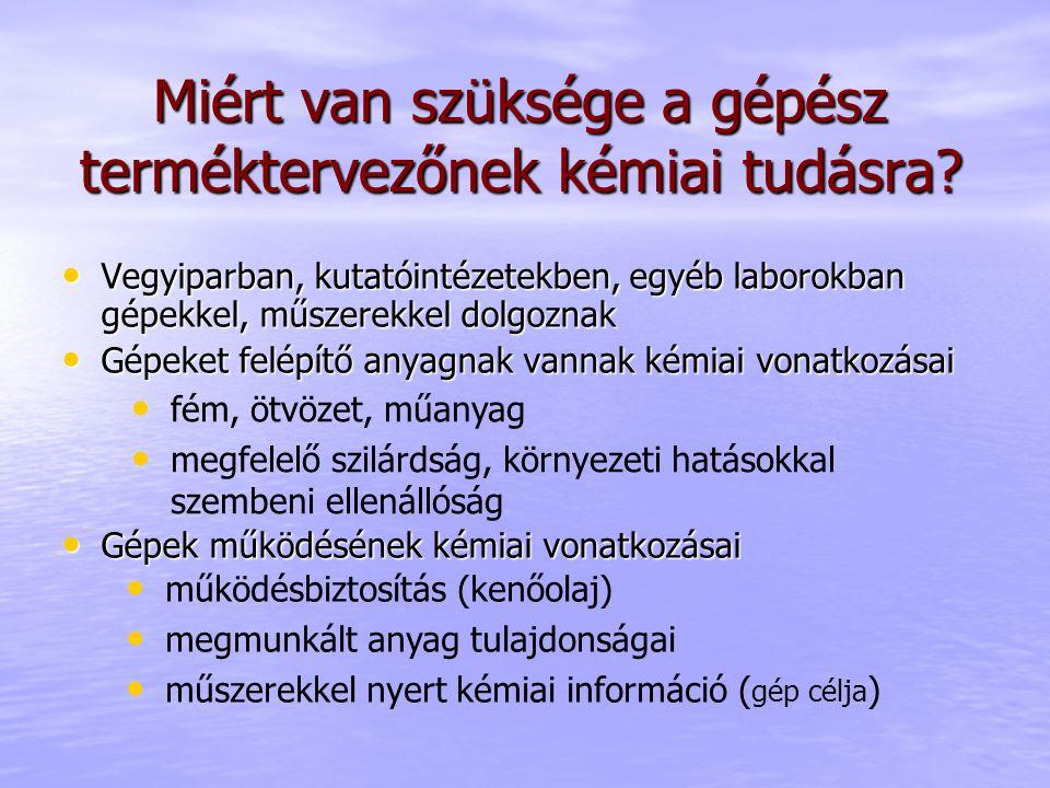 Tematika Általános kémia Általános kémia Szervetlen kémia Szervetlen kémia Szerves kémia Szerves kémia Atomok, molekulák, kémiai kötések Periódusos rendszer (http://www.ptable.com/)http://www.ptable.com/ Anyagi halmazok (gáz, folyadék, szilárd, ötvözetek) Kémiai reakciók (reakcióegyenlet, egyensúlyok, energetika) Elektrokémia (galvánelem, akkumulátor, korrózió)