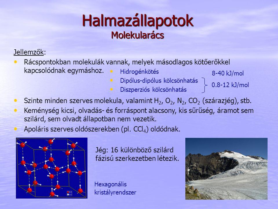 Halmazállapotok Molekularács Jellemzők: Rácspontokban molekulák vannak, melyek másodlagos kötőerőkkel kapcsolódnak egymáshoz. Szinte minden szerves mo