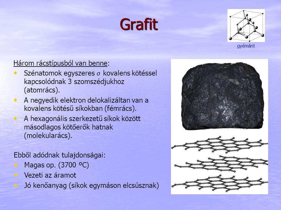 Grafit Három rácstípusból van benne: Szénatomok egyszeres  kovalens kötéssel kapcsolódnak 3 szomszédjukhoz (atomrács). A negyedik elektron delokalizá