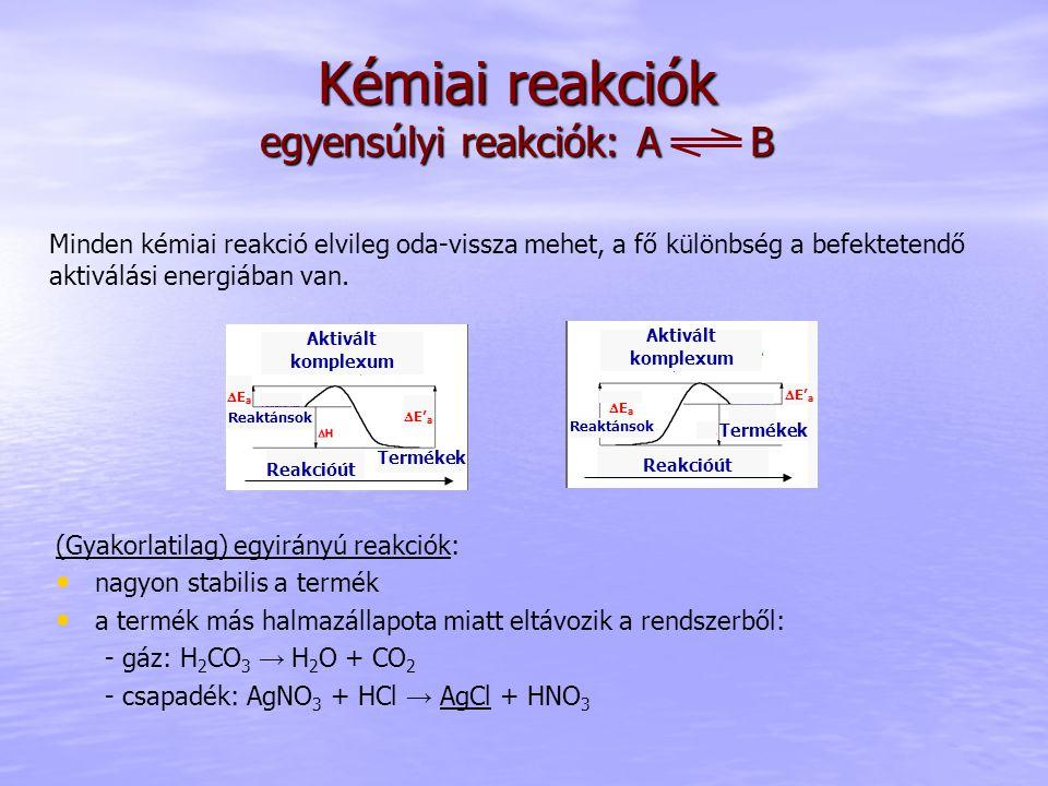 Kémiai reakciók egyensúlyi reakciók: A B (Gyakorlatilag) egyirányú reakciók: nagyon stabilis a termék a termék más halmazállapota miatt eltávozik a rendszerből: - gáz: H 2 CO 3 → H 2 O + CO 2 - csapadék: AgNO 3 + HCl → AgCl + HNO 3 Aktivált komplexum Reakcióút Termékek EaEa  E' a Reaktánsok Minden kémiai reakció elvileg oda-vissza mehet, a fő különbség a befektetendő aktiválási energiában van.