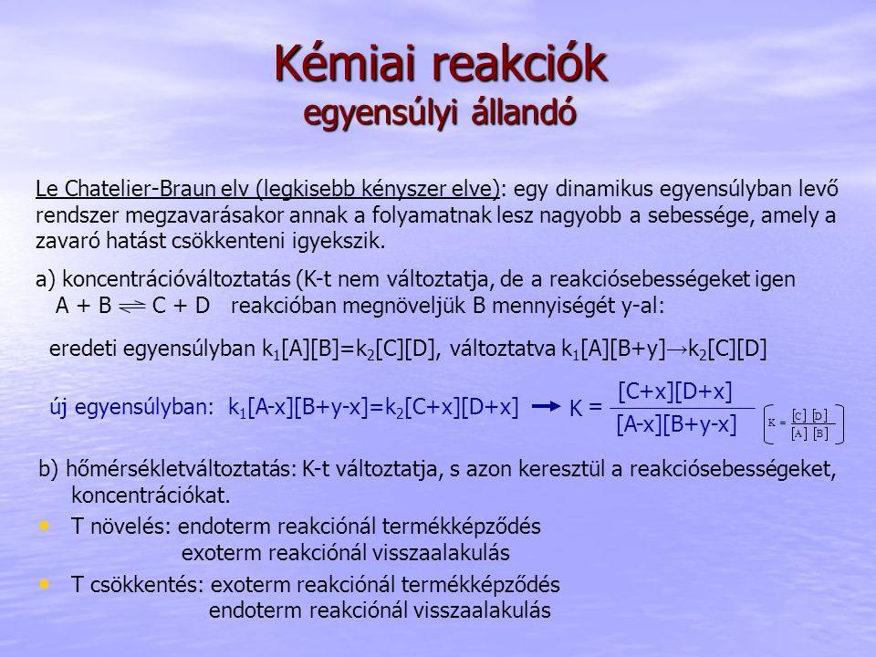Kémiai reakciók egyensúlyi állandó b) hőmérsékletváltoztatás: K-t változtatja, s azon keresztül a reakciósebességeket, koncentrációkat. T növelés: end