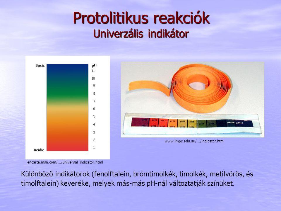 Protolitikus reakciók Univerzális indikátor Különböző indikátorok (fenolftalein, brómtimolkék, timolkék, metilvörös, és timolftalein) keveréke, melyek más-más pH-nál változtatják színüket.