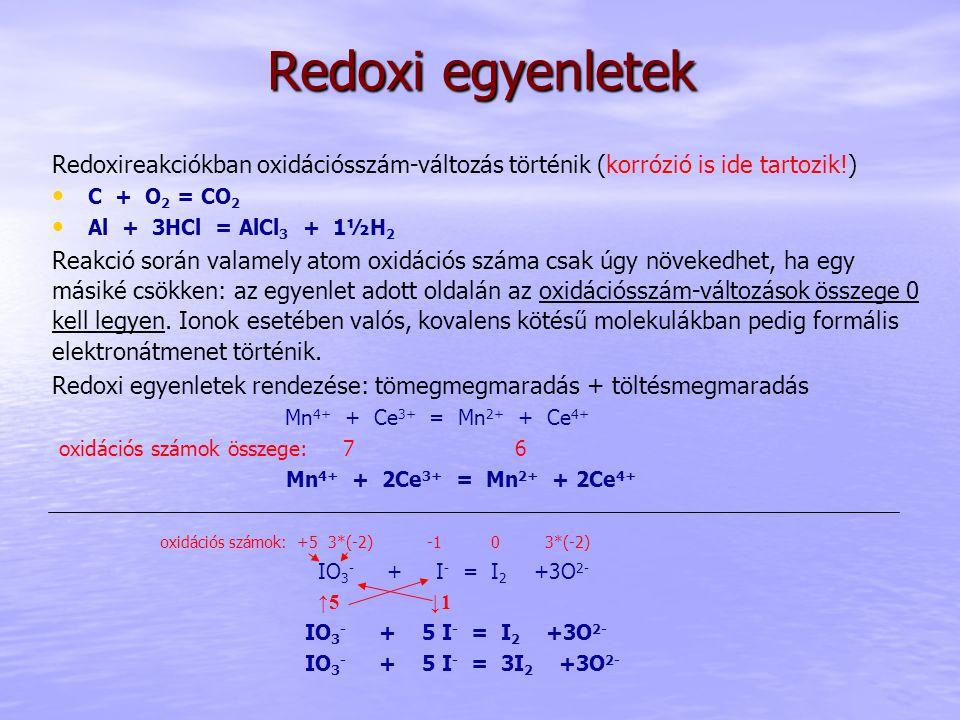 Redoxi egyenletek Redoxireakciókban oxidációsszám-változás történik (korrózió is ide tartozik!) C + O 2 = CO 2 Al + 3HCl = AlCl 3 + 1½H 2 Reakció során valamely atom oxidációs száma csak úgy növekedhet, ha egy másiké csökken: az egyenlet adott oldalán az oxidációsszám-változások összege 0 kell legyen.