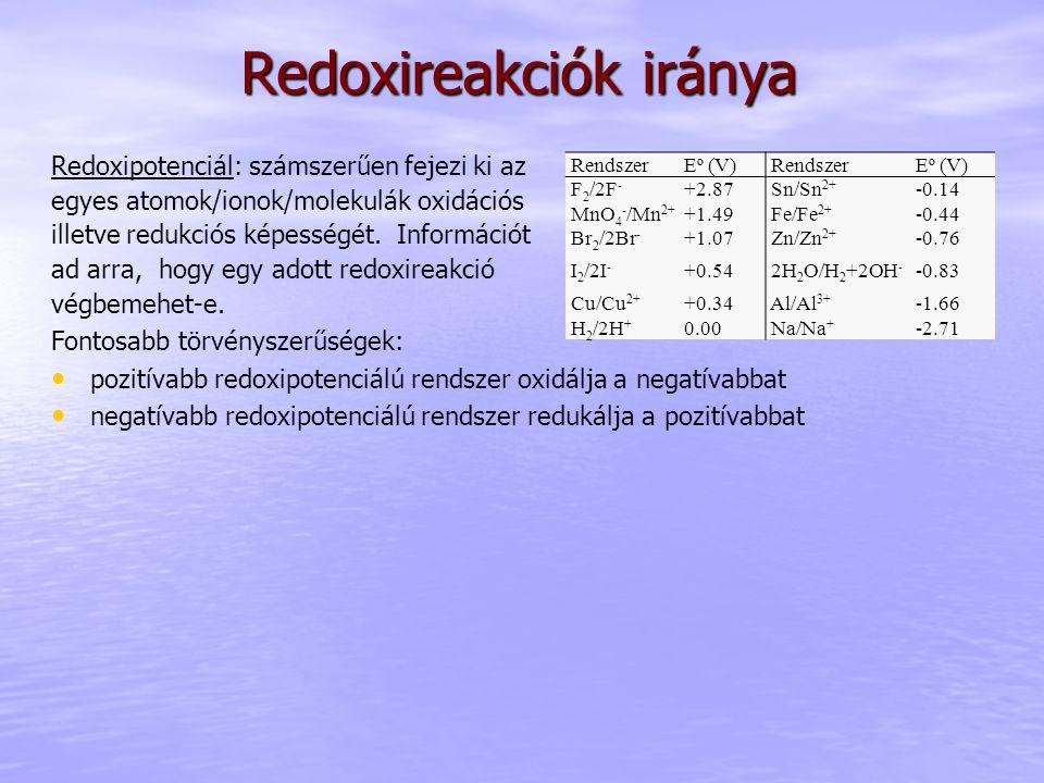Redoxireakciók iránya Redoxipotenciál: számszerűen fejezi ki az egyes atomok/ionok/molekulák oxidációs illetve redukciós képességét.