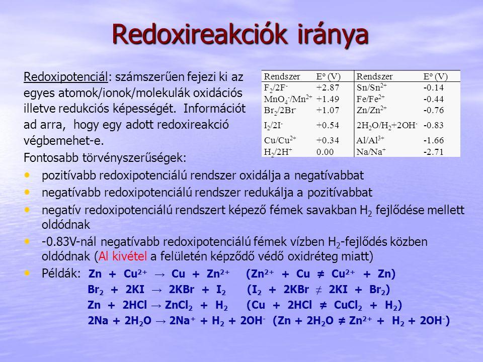 Redoxireakciók iránya Redoxipotenciál: számszerűen fejezi ki az egyes atomok/ionok/molekulák oxidációs illetve redukciós képességét. Információt ad ar