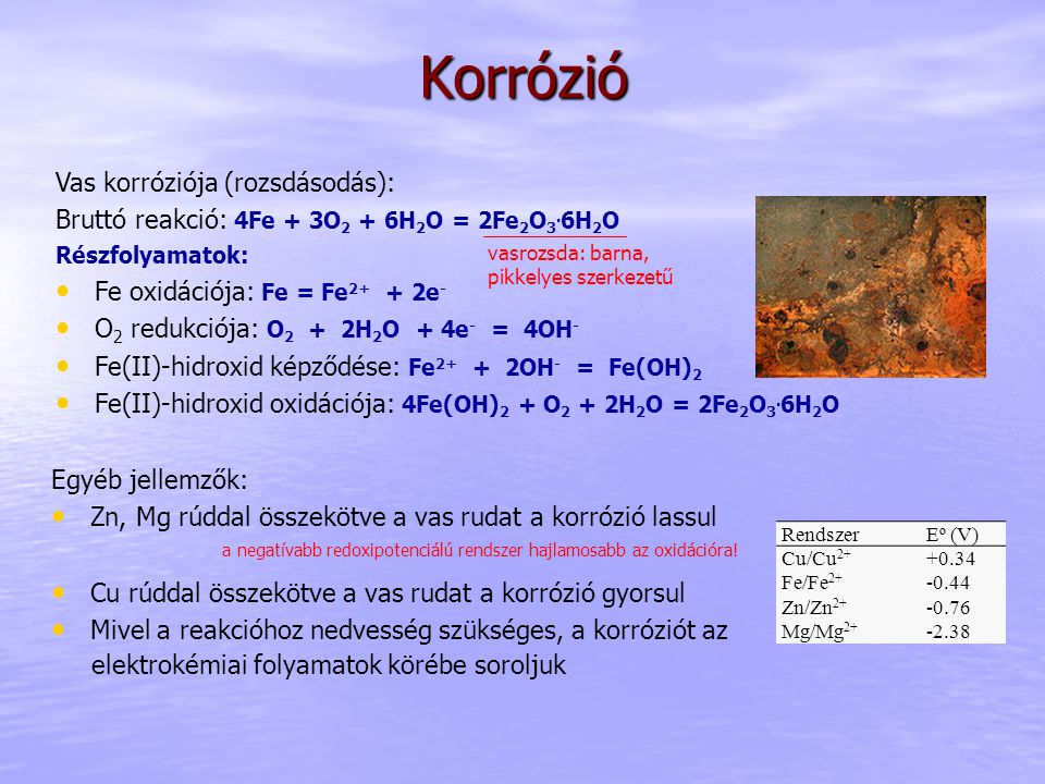 Korrózió Vas korróziója (rozsdásodás): Bruttó reakció: 4Fe + 3O 2 + 6H 2 O = 2Fe 2 O 3. 6H 2 O Részfolyamatok: Fe oxidációja: Fe = Fe 2+ + 2e - O 2 re