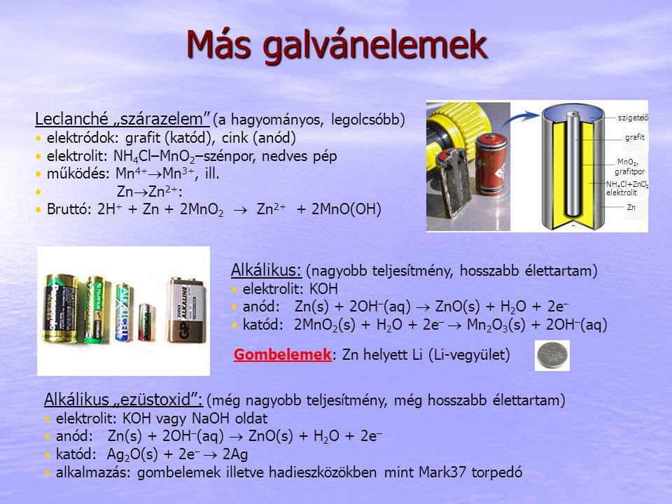 """Más galvánelemek grafit MnO 2, grafitpor NH 4 Cl+ZnCl 2 elektrolit MnO 2, grafitpor Zn szigetelő Alkálikus: (nagyobb teljesítmény, hosszabb élettartam) elektrolit: KOH anód: Zn(s) + 2OH – (aq)  ZnO(s) + H 2 O + 2e – katód: 2MnO 2 (s) + H 2 O + 2e –  Mn 2 O 3 (s) + 2OH – (aq) Alkálikus """"ezüstoxid : (még nagyobb teljesítmény, még hosszabb élettartam) elektrolit: KOH vagy NaOH oldat anód: Zn(s) + 2OH – (aq)  ZnO(s) + H 2 O + 2e – katód: Ag 2 O(s) + 2e –  2Ag alkalmazás: gombelemek illetve hadieszközökben mint Mark37 torpedó Leclanché """"szárazelem (a hagyományos, legolcsóbb) elektródok: grafit (katód), cink (anód) elektrolit: NH 4 Cl–MnO 2 –szénpor, nedves pép működés: Mn 4+  Mn 3+, ill."""