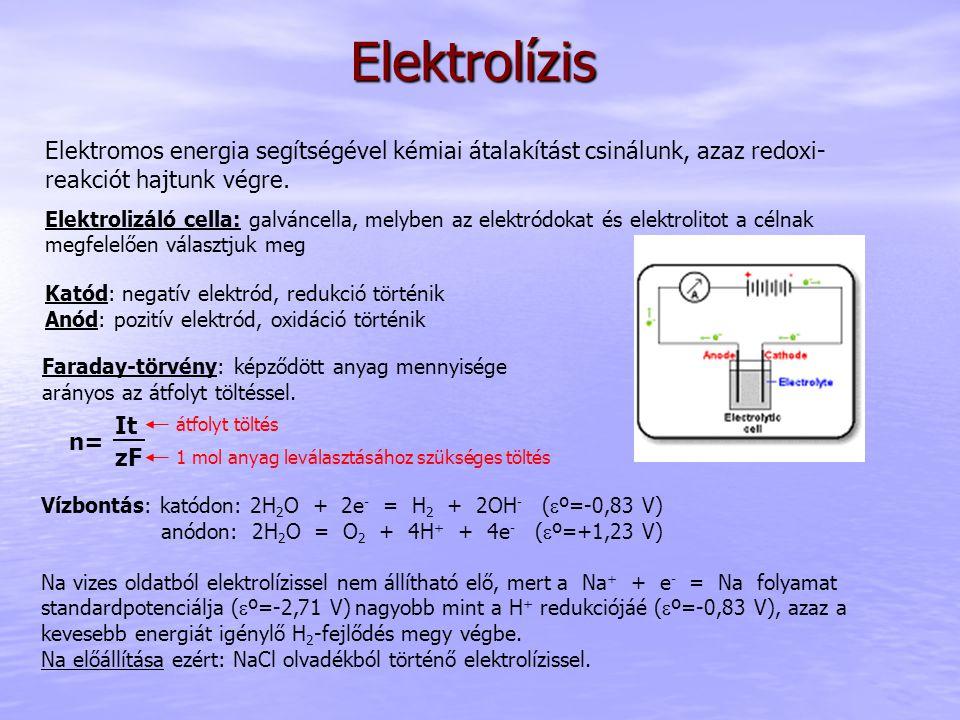 Elektrolízis Elektromos energia segítségével kémiai átalakítást csinálunk, azaz redoxi- reakciót hajtunk végre. Elektrolizáló cella: galváncella, mely