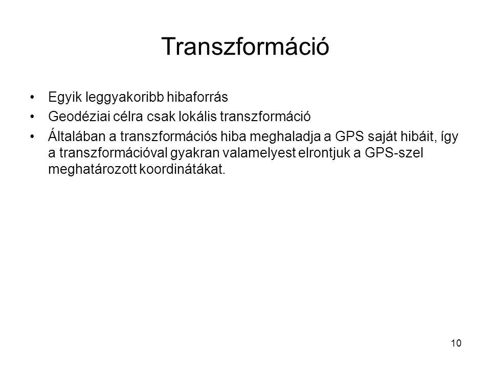 10 Transzformáció Egyik leggyakoribb hibaforrás Geodéziai célra csak lokális transzformáció Általában a transzformációs hiba meghaladja a GPS saját hi