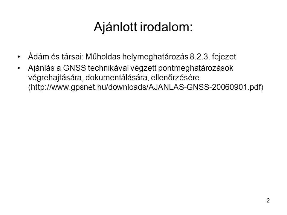 2 Ajánlott irodalom: Ádám és társai: Műholdas helymeghatározás 8.2.3. fejezet Ajánlás a GNSS technikával végzett pontmeghatározások végrehajtására, do