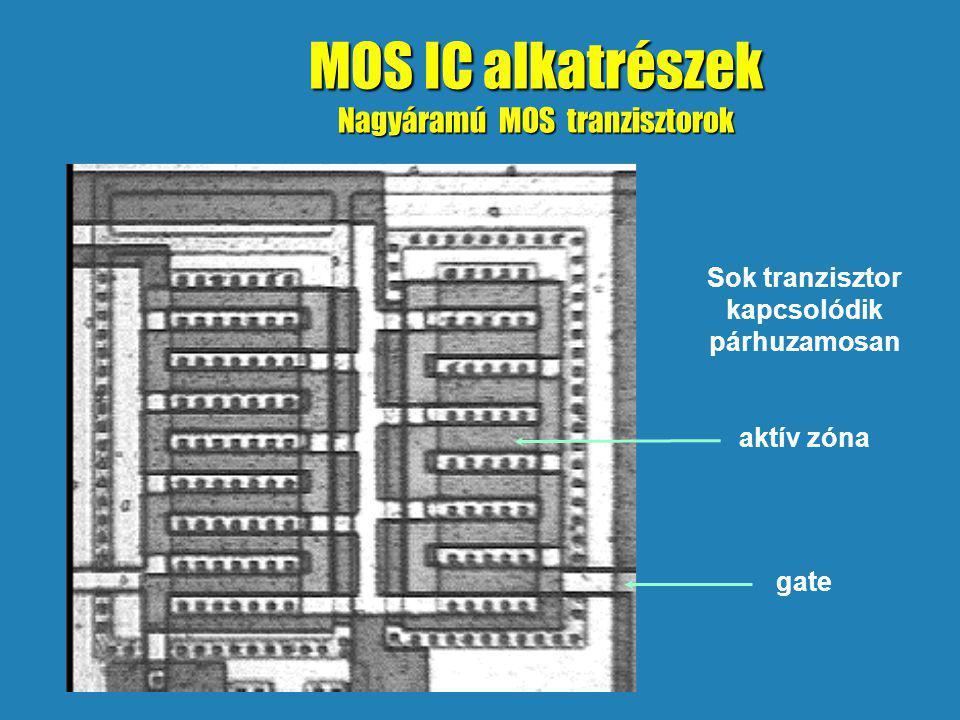 MOS IC alkatrészek Nagyáramú MOS tranzisztorok Sok tranzisztor kapcsolódik párhuzamosan aktív zóna gate