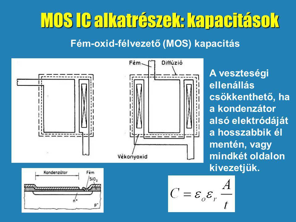Fém-oxid-félvezető (MOS) kapacitás A veszteségi ellenállás csökkenthető, ha a kondenzátor alsó elektródáját a hosszabbik él mentén, vagy mindkét oldalon kivezetjük.