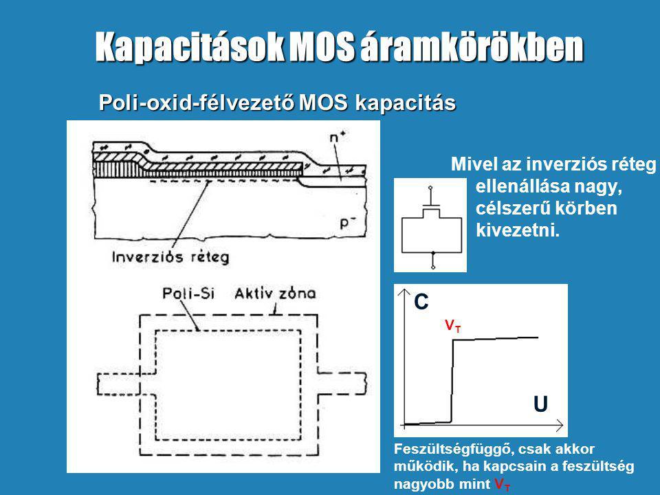 Poli-oxid-félvezető MOS kapacitás Mivel az inverziós réteg ellenállása nagy, célszerű körben kivezetni. Feszültségfüggő, csak akkor működik, ha kapcsa