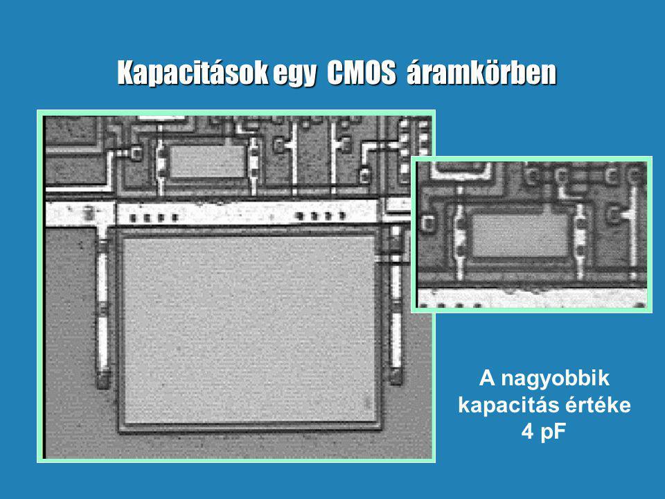 Kapacitások egy CMOS áramkörben A nagyobbik kapacitás értéke 4 pF