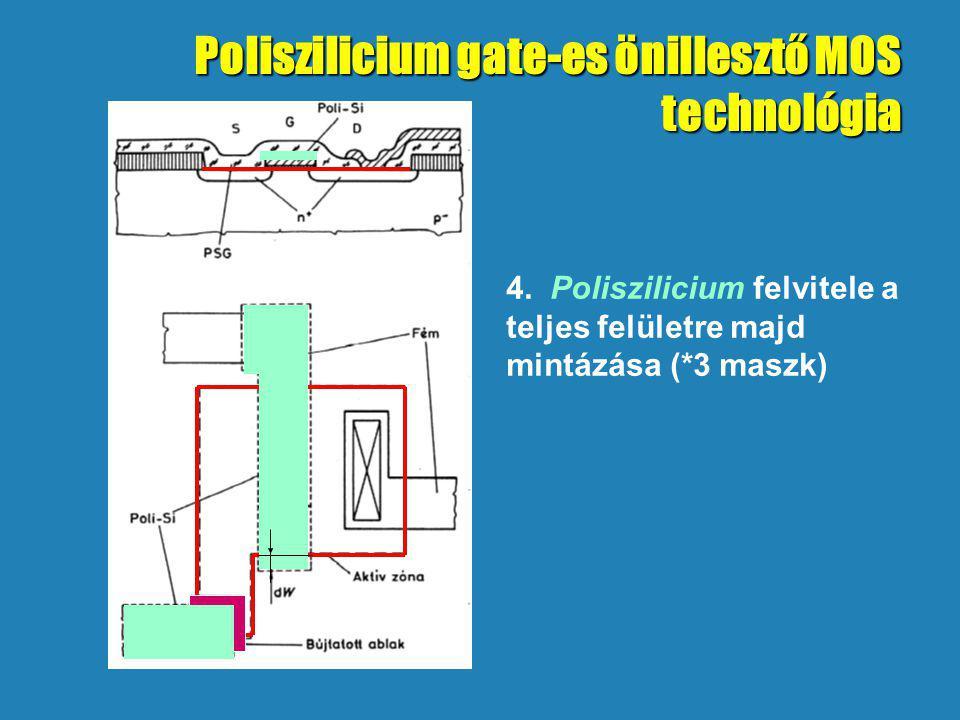 4. Poliszilicium felvitele a teljes felületre majd mintázása (*3 maszk) Poliszilicium gate-es önillesztő MOS technológia