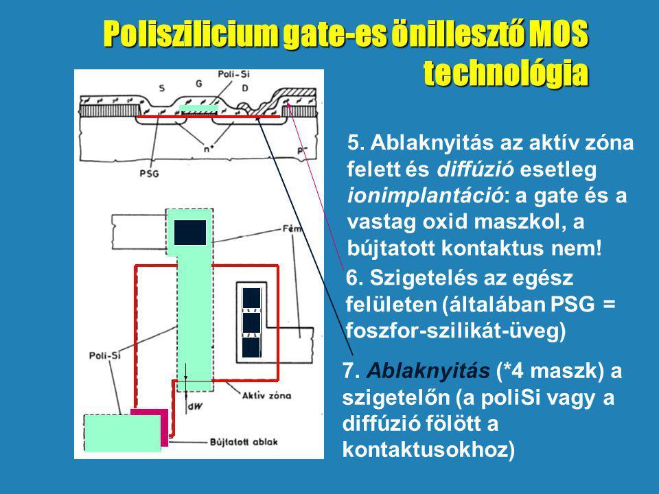 5. Ablaknyitás az aktív zóna felett és diffúzió esetleg ionimplantáció: a gate és a vastag oxid maszkol, a bújtatott kontaktus nem! 6. Szigetelés az e