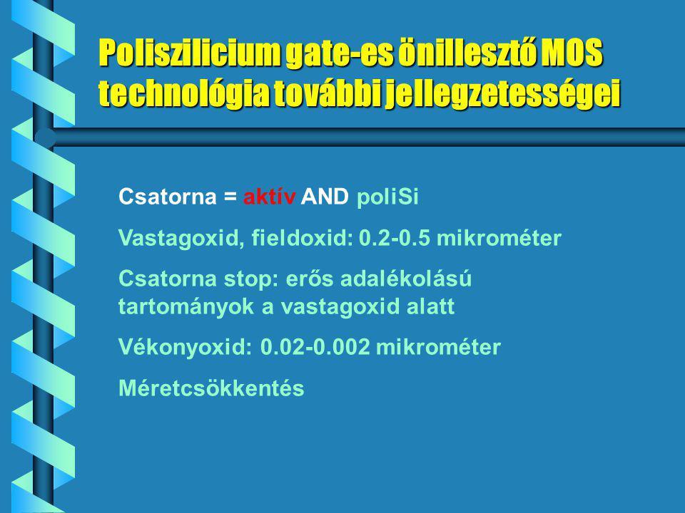 Poliszilicium gate-es önillesztő MOS technológia további jellegzetességei Csatorna = aktív AND poliSi Vastagoxid, fieldoxid: 0.2-0.5 mikrométer Csatorna stop: erős adalékolású tartományok a vastagoxid alatt Vékonyoxid: 0.02-0.002 mikrométer Méretcsökkentés