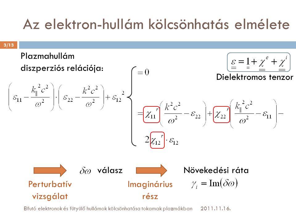 2011.11.16.Elfutó elektronok és fütyülő hullámok kölcsönhatása tokamak plazmákban válasz Imaginárius rész Növekedési ráta 3/13 Az elektron-hullám kölc