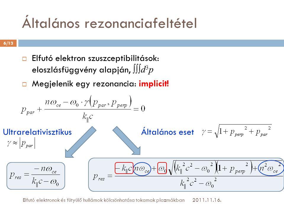 Általános rezonanciafeltétel 2011.11.16.Elfutó elektronok és fütyülő hullámok kölcsönhatása tokamak plazmákban 6/13  Elfutó elektron szuszceptibilitá