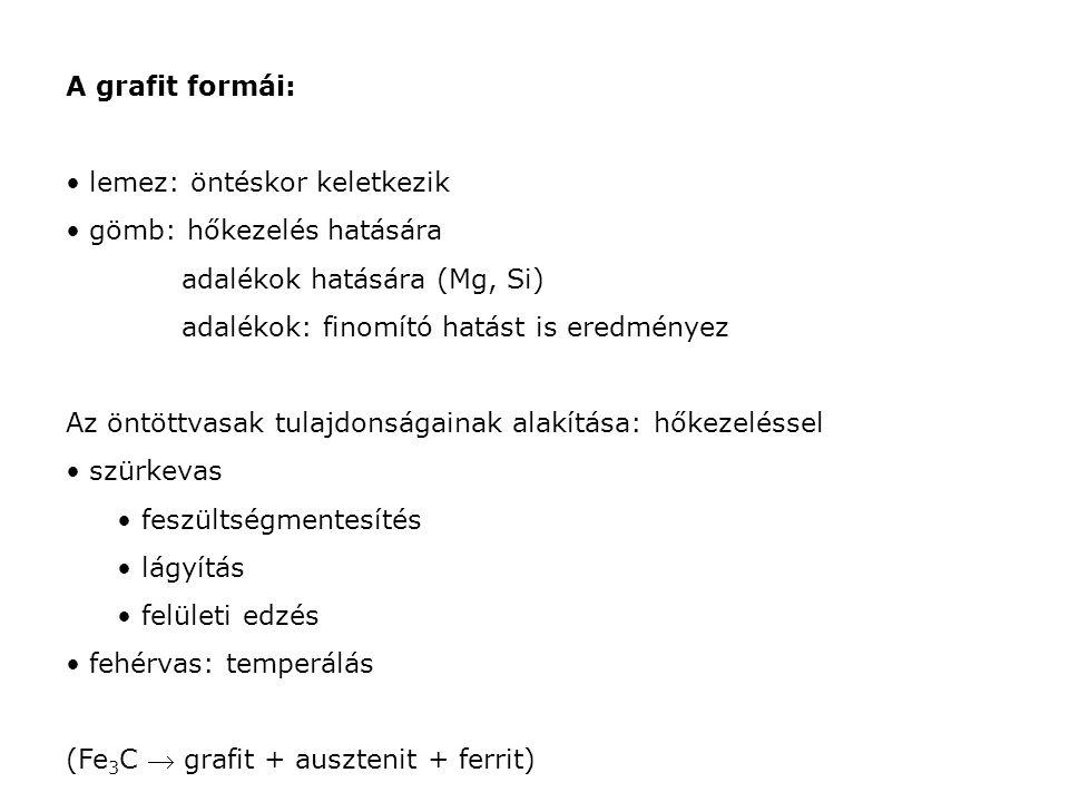 Különleges öntöttvasak szürke: alacsony szilárdság (grafit lemzek) módosítás: adalékkal: Mg (gömbgrafit) Si (C helyettesítés) fehér: Mo, Cr, V adalékkal (karbidképző elemek) Max.: 1-2 %