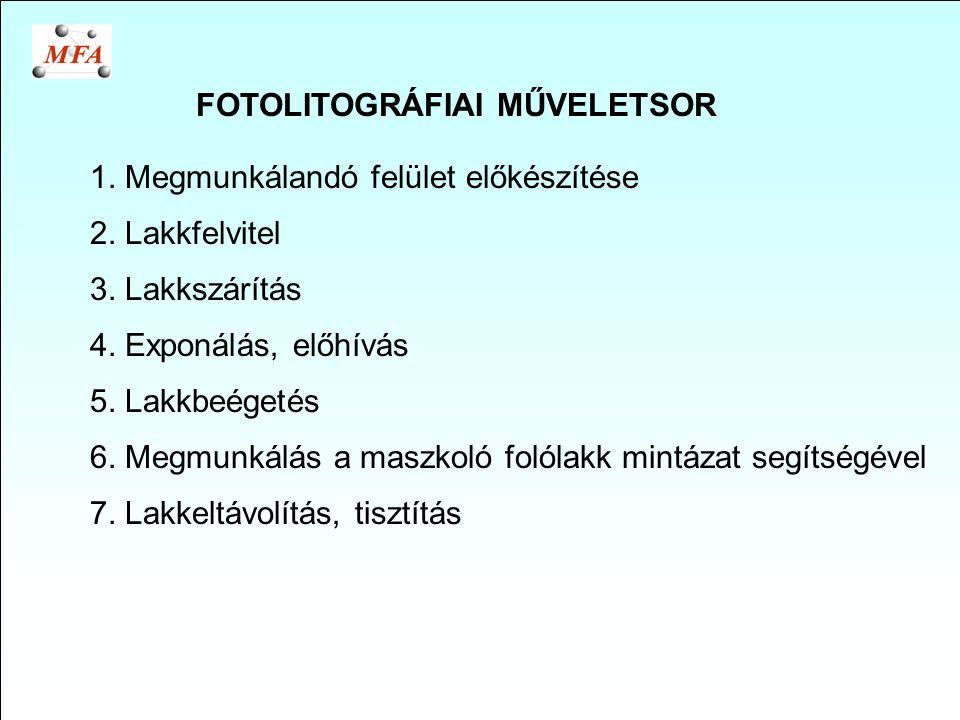 FOTOLITOGRÁFIAI MŰVELETSOR 1. Megmunkálandó felület előkészítése 2. Lakkfelvitel 3. Lakkszárítás 4. Exponálás, előhívás 5. Lakkbeégetés 6. Megmunkálás