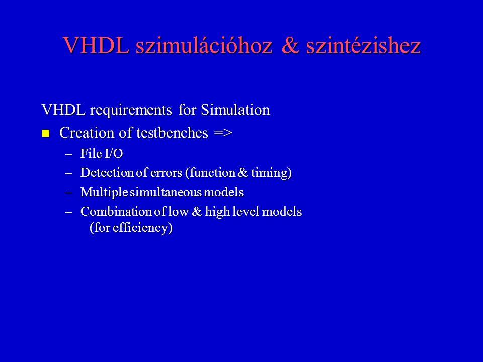 VHDL szimulációhoz & szintézishez VHDL requirements for HW Description n Behavioral models => –Combinatorial & Sequential Logic –RTL models n Structural models n Timing models