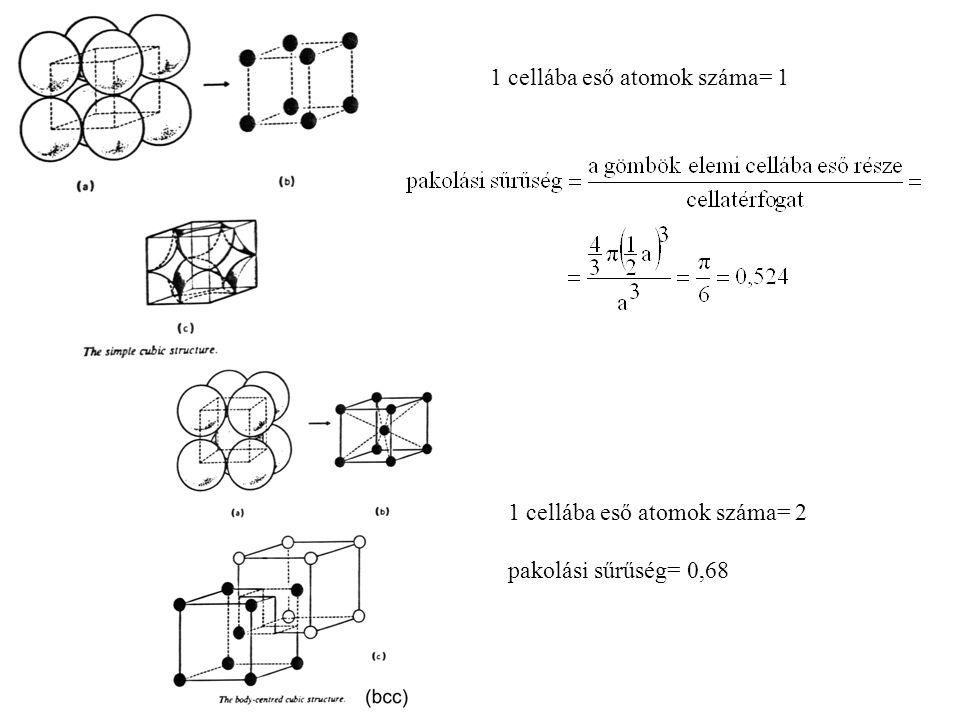 1 cellába eső atomok száma= 1 1 cellába eső atomok száma= 2 pakolási sűrűség= 0,68