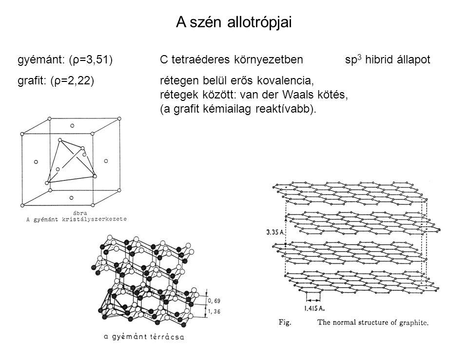 A szén allotrópjai gyémánt: (ρ=3,51)C tetraéderes környezetbensp 3 hibrid állapot grafit: (ρ=2,22)rétegen belül erős kovalencia, rétegek között: van der Waals kötés, (a grafit kémiailag reaktívabb).