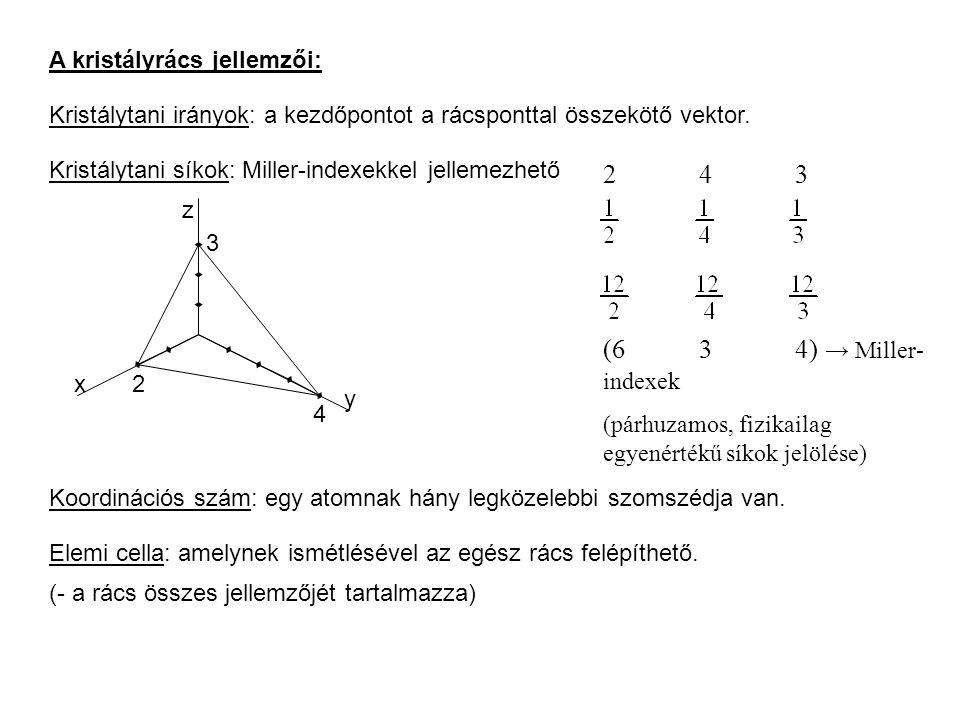 Az elemi cella jellemzői: elemi cella ≠ primitív cella Elemi rácsvektorok nagysága Elemi rácsvektorok egymáshoz viszonyított szöge Az elemi cellában lévő atomok száma: Térkitöltés: V a /V c