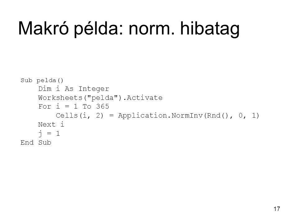 17 Makró példa: norm. hibatag Sub pelda() Dim i As Integer Worksheets(