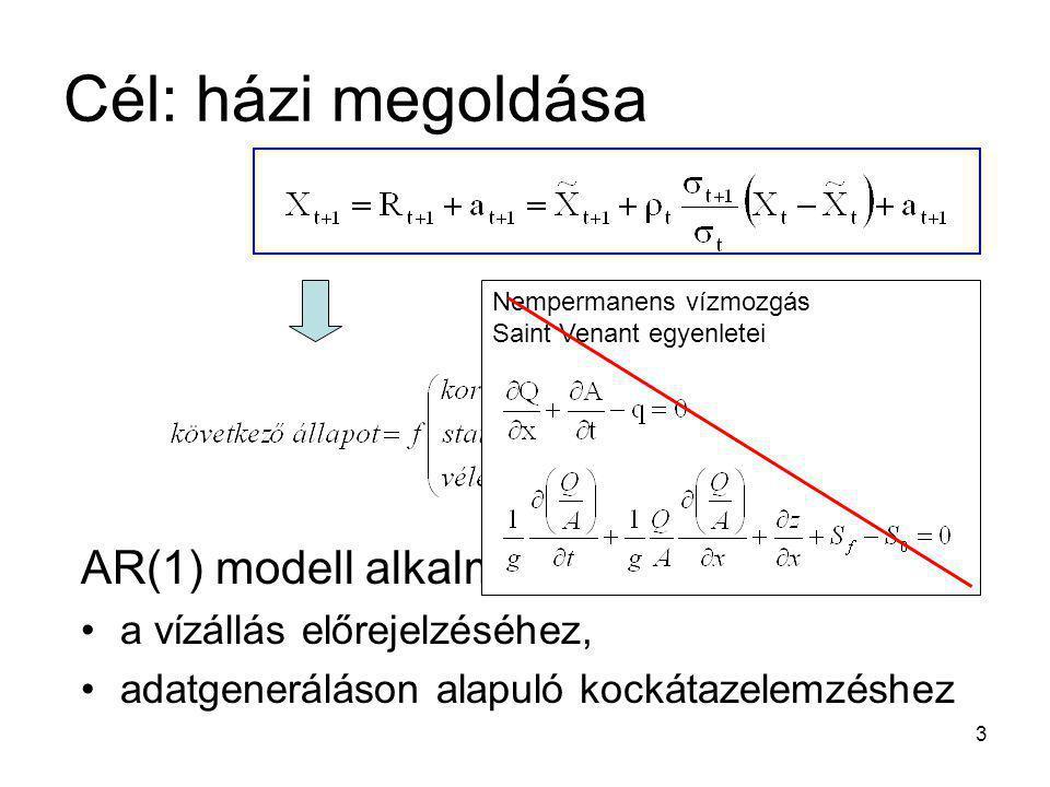 3 AR(1) modell alkalmazása a vízállás előrejelzéséhez, adatgeneráláson alapuló kockátazelemzéshez Nempermanens vízmozgás Saint Venant egyenletei