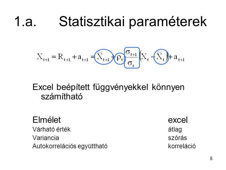 5 1.a.Statisztikai paraméterek Excel beépített függvényekkel könnyen számítható Elméletexcel Várható értékátlag Varianciaszórás Autokorrelációs együtt