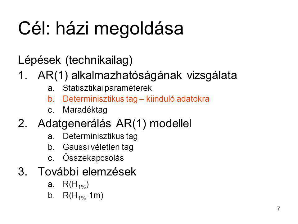 7 Cél: házi megoldása Lépések (technikailag) 1.AR(1) alkalmazhatóságának vizsgálata a.Statisztikai paraméterek b.Determinisztikus tag – kiinduló adato