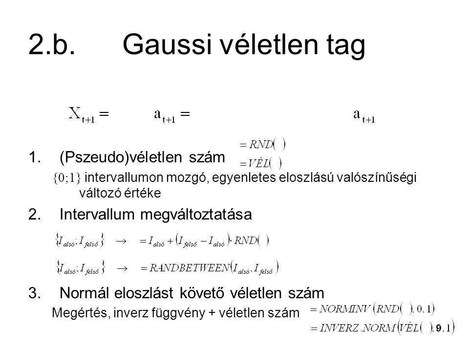 9 2.b.Gaussi véletlen tag 1.(Pszeudo)véletlen szám {0;1} intervallumon mozgó, egyenletes eloszlású valószínűségi változó értéke 2.Intervallum megválto