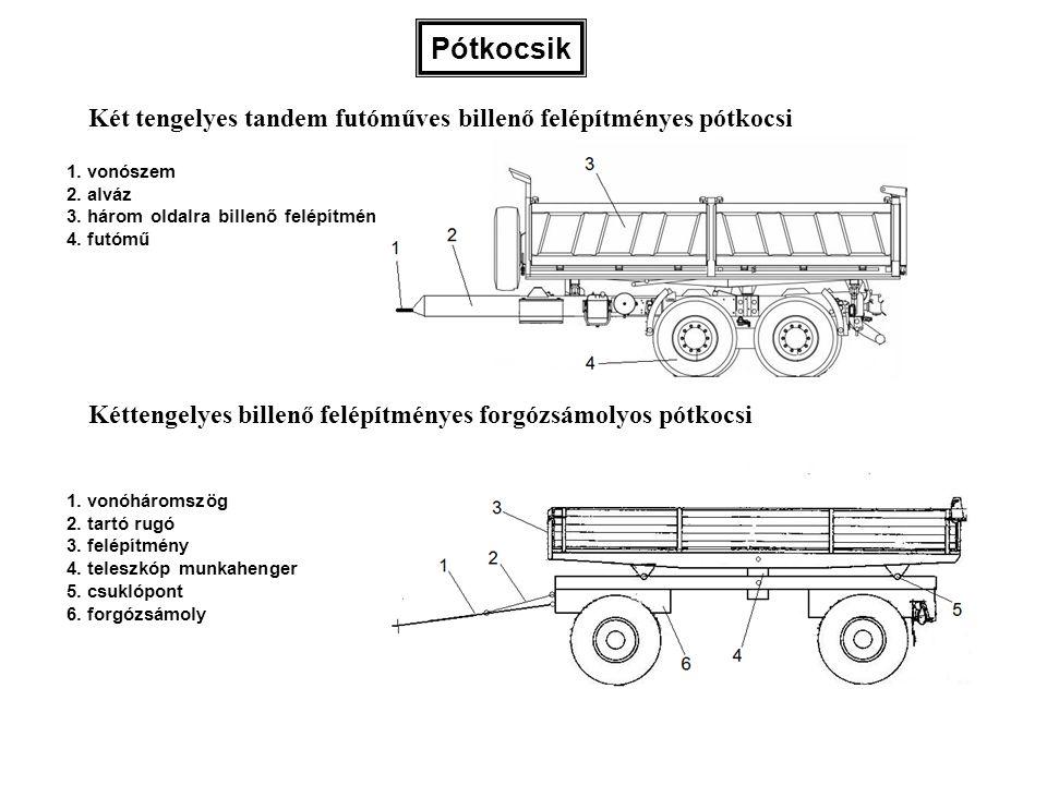 Pótkocsik 1. vonószem 2. alváz 3. három oldalra billenő felépítmény 4. futómű 1. vonóháromszög 2. tartó rugó 3. felépítmény 4. teleszkóp munkahenger 5