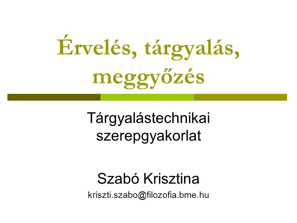 Érvelés, tárgyalás, meggyőzés Tárgyalástechnikai szerepgyakorlat Szabó Krisztina kriszti.szabo@filozofia.bme.hu