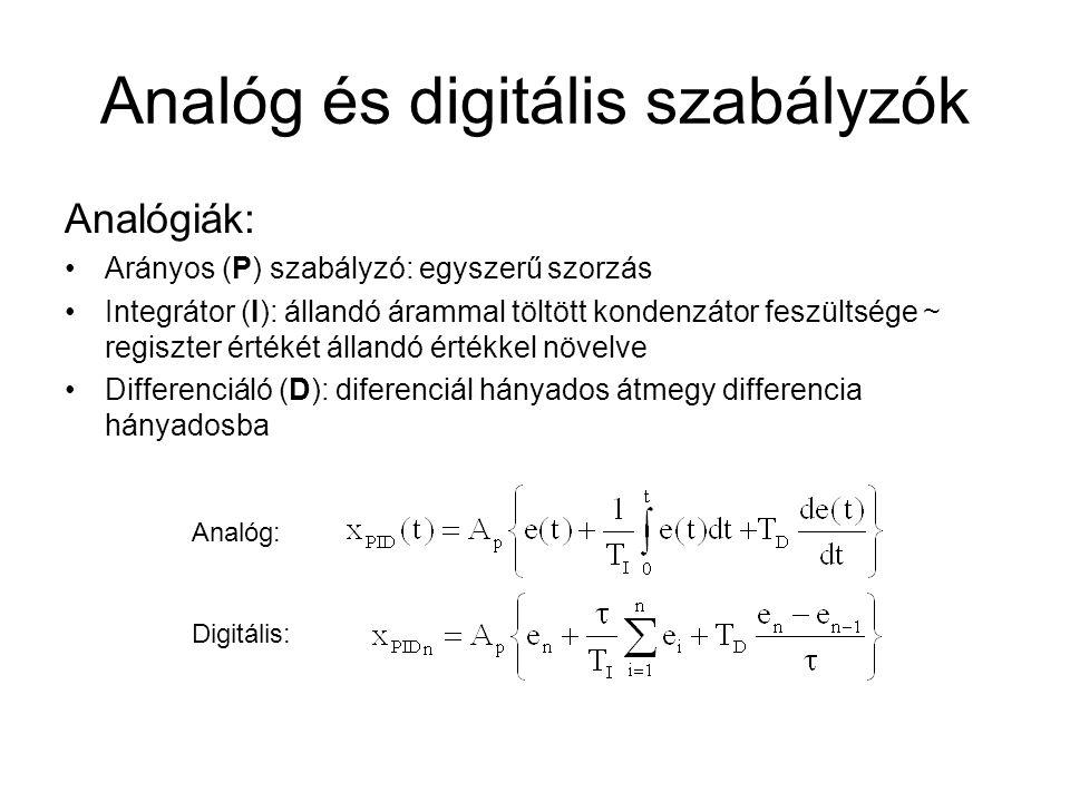 Analóg és digitális szabályzók Analógiák: Arányos (P) szabályzó: egyszerű szorzás Integrátor (I): állandó árammal töltött kondenzátor feszültsége ~ regiszter értékét állandó értékkel növelve Differenciáló (D): diferenciál hányados átmegy differencia hányadosba Analóg: Digitális: