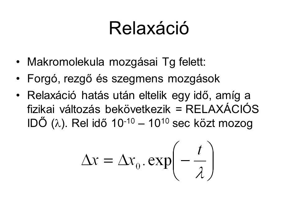 Relaxáció Makromolekula mozgásai Tg felett: Forgó, rezgő és szegmens mozgások Relaxáció hatás után eltelik egy idő, amíg a fizikai változás bekövetkez