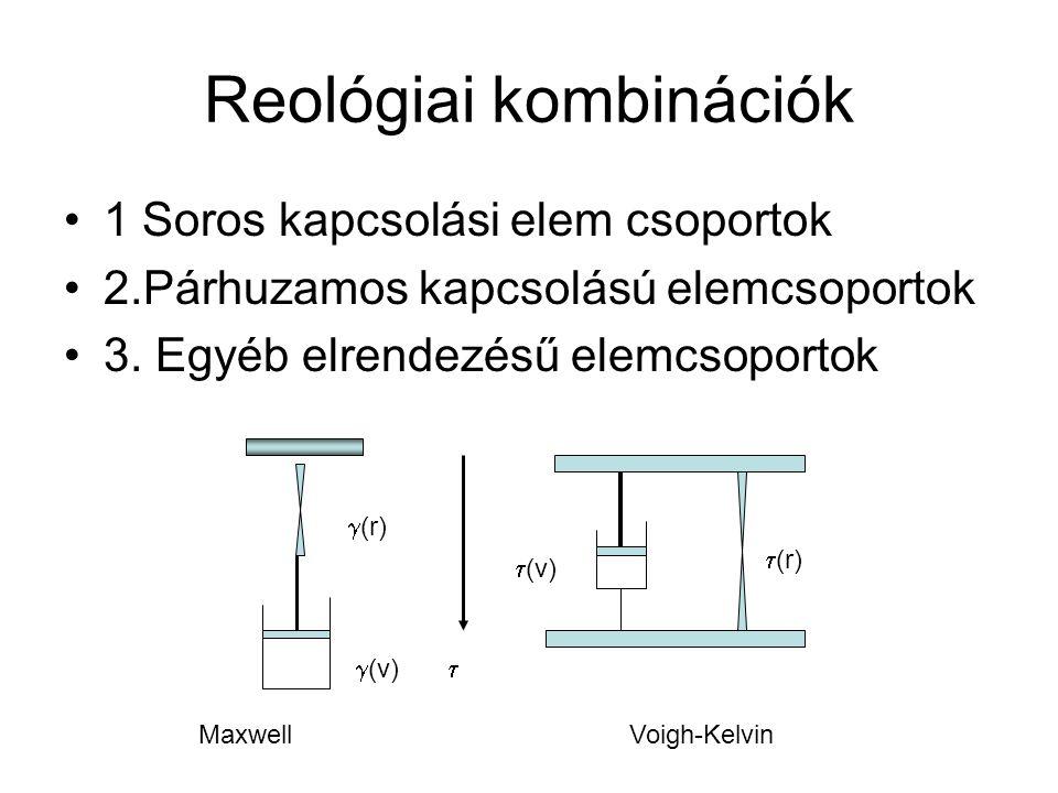 Reológiai kombinációk 1 Soros kapcsolási elem csoportok 2.Párhuzamos kapcsolású elemcsoportok 3. Egyéb elrendezésű elemcsoportok Maxwell Voigh-Kelvin