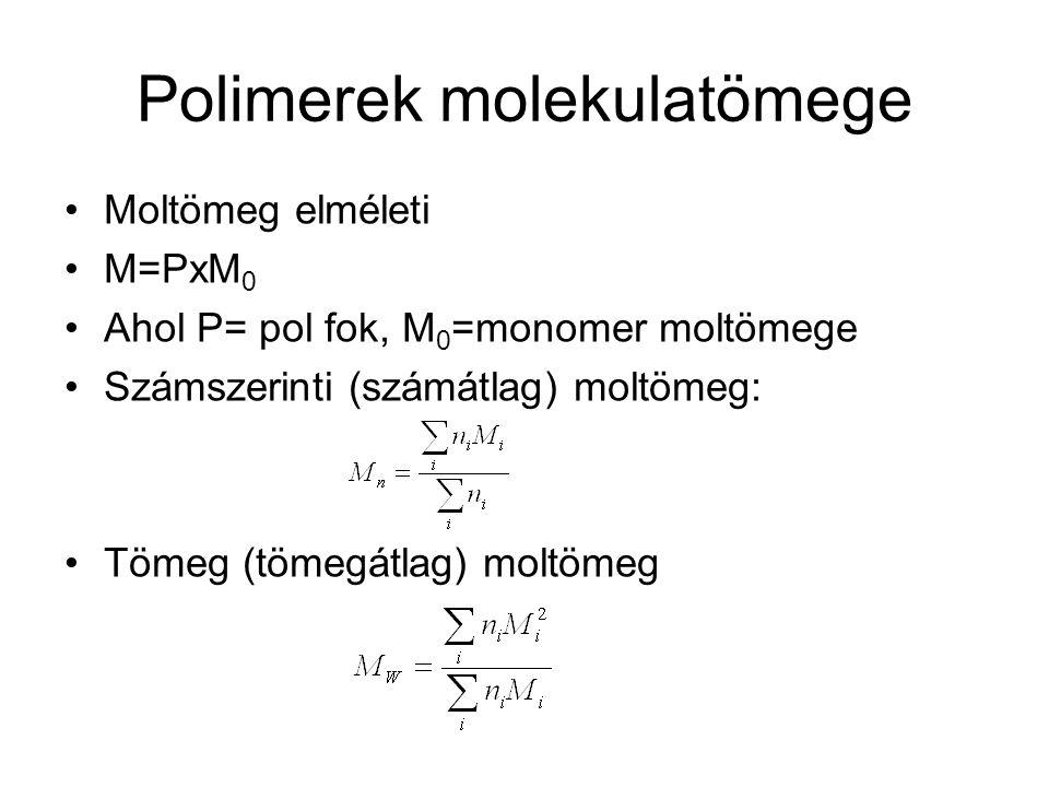 Polimerek molekulatömege Moltömeg elméleti M=PxM 0 Ahol P= pol fok, M 0 =monomer moltömege Számszerinti (számátlag) moltömeg: Tömeg (tömegátlag) moltö