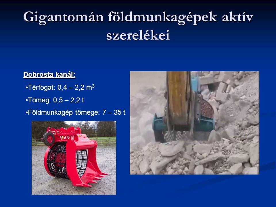 Gigantomán földmunkagépek aktív szerelékei Dobrosta kanál: Térfogat: 0,4 – 2,2 m 3 Tömeg: 0,5 – 2,2 t Földmunkagép tömege: 7 – 35 t