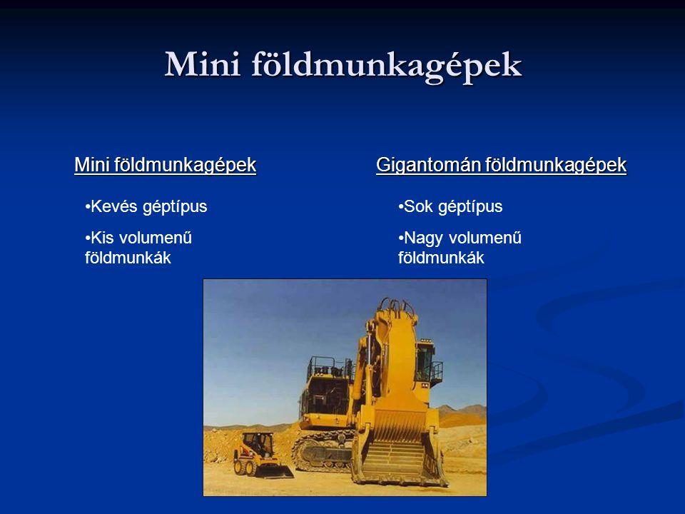 Mini földmunkagépek Gigantomán földmunkagépek Kevés géptípus Kis volumenű földmunkák Sok géptípus Nagy volumenű földmunkák