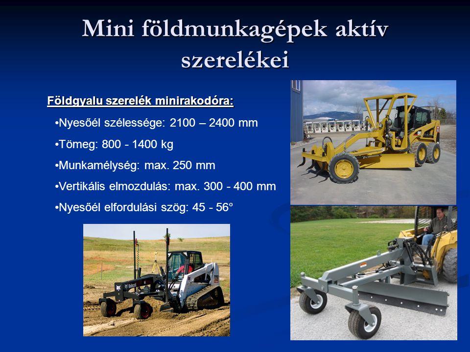 Földgyalu szerelék minirakodóra: Nyesőél szélessége: 2100 – 2400 mm Tömeg: 800 - 1400 kg Munkamélység: max. 250 mm Vertikális elmozdulás: max. 300 - 4