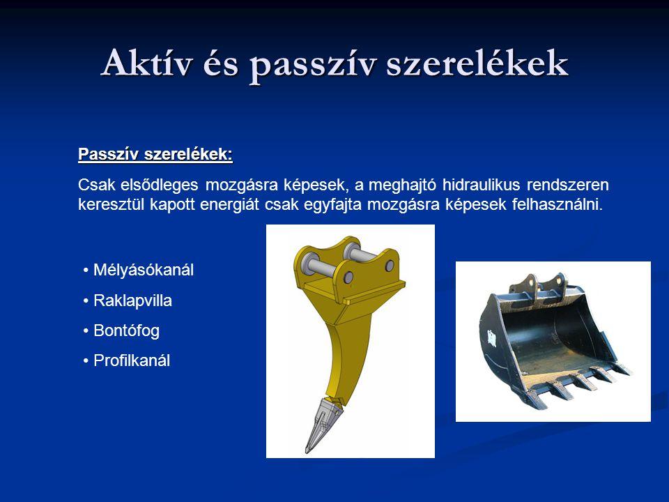 Aktív és passzív szerelékek Passzív szerelékek: Csak elsődleges mozgásra képesek, a meghajtó hidraulikus rendszeren keresztül kapott energiát csak egy