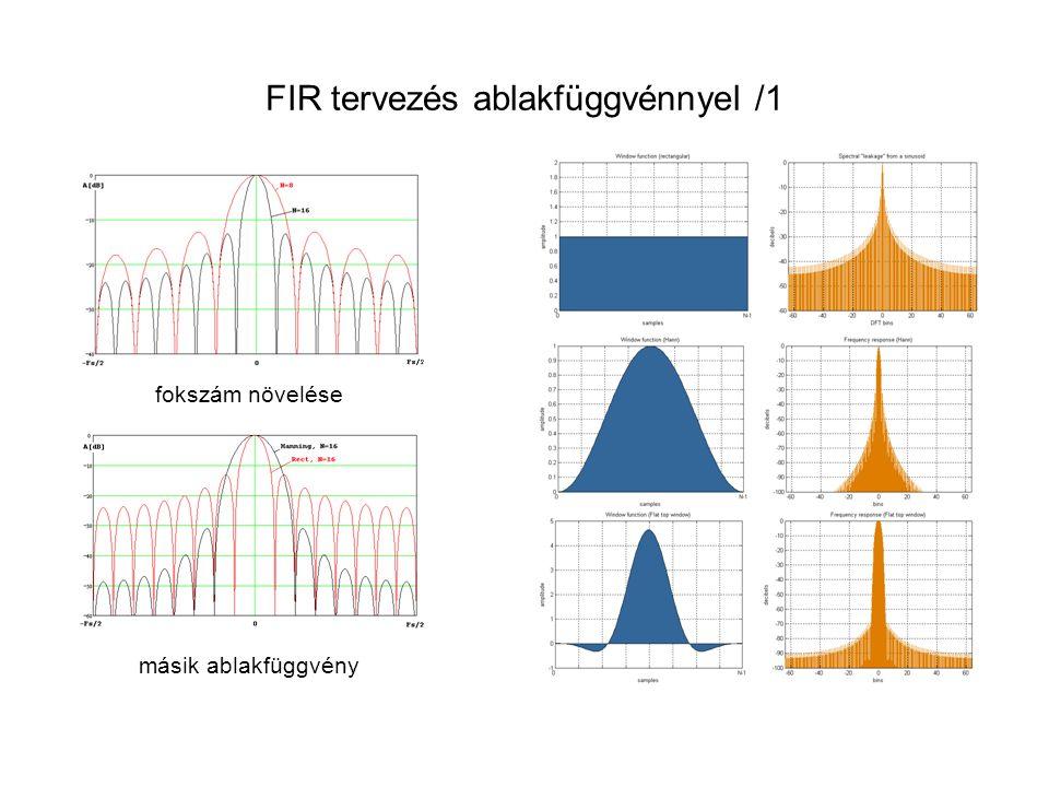 FIR tervezés ablakfüggvénnyel /1 fokszám növelése másik ablakfüggvény