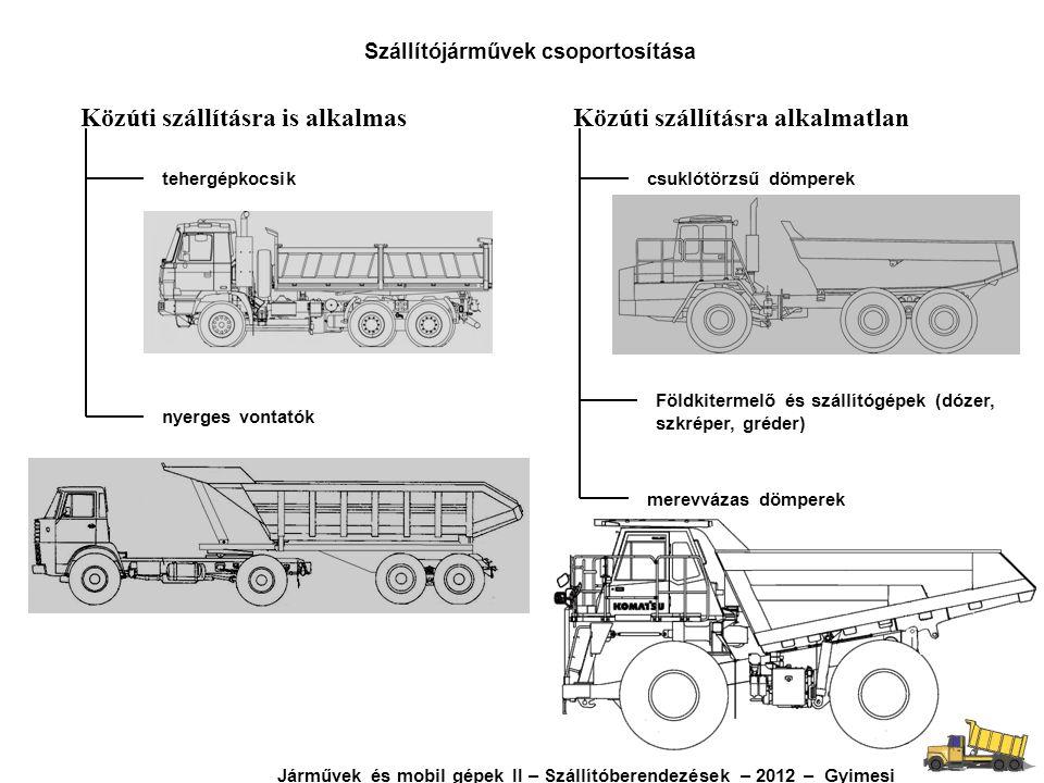 Közúti szállításra is alkalmasKözúti szállításra alkalmatlan tehergépkocsik nyerges vontatók csuklótörzsű dömperek merevvázas dömperek Földkitermelő é