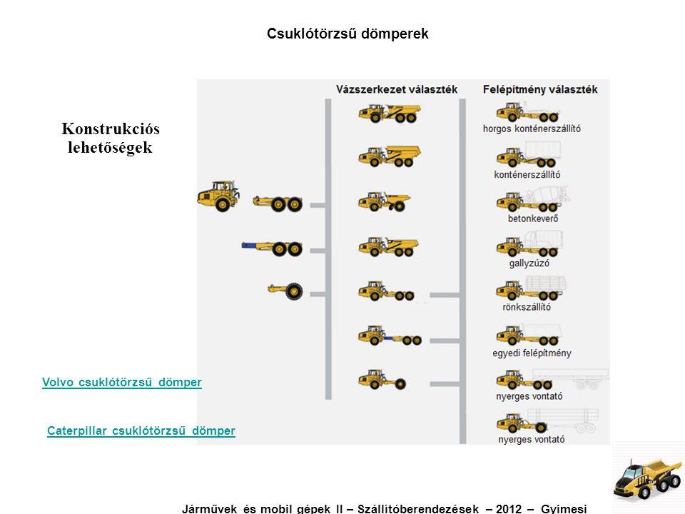 Konstrukciós lehetőségek Volvo csuklótörzsű dömper Caterpillar csuklótörzsű dömper Csuklótörzsű dömperek Járművek és mobil gépek II – Szállítóberendez