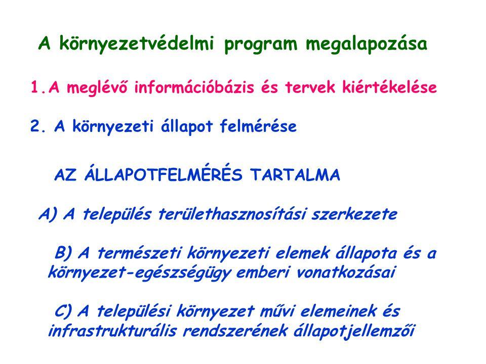 A környezetvédelmi program megalapozása 1.A meglévő információbázis és tervek kiértékelése 2.