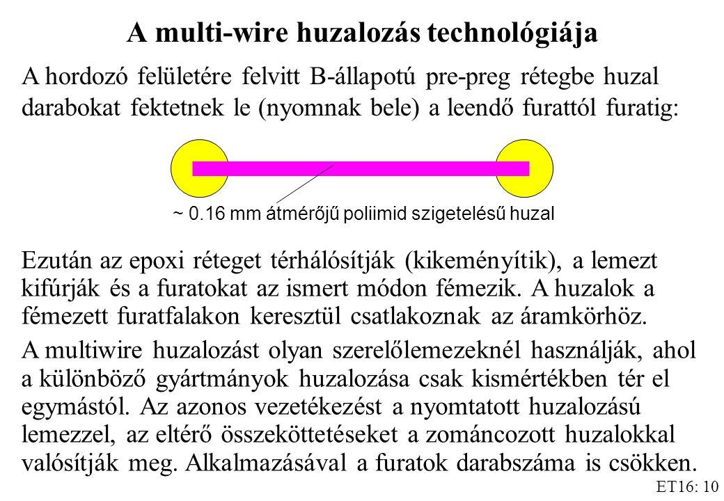 ET16: 10 A multi-wire huzalozás technológiája A hordozó felületére felvitt B-állapotú pre-preg rétegbe huzal darabokat fektetnek le (nyomnak bele) a leendő furattól furatig: ~ 0.16 mm átmérőjű poliimid szigetelésű huzal Ezután az epoxi réteget térhálósítják (kikeményítik), a lemezt kifúrják és a furatokat az ismert módon fémezik.