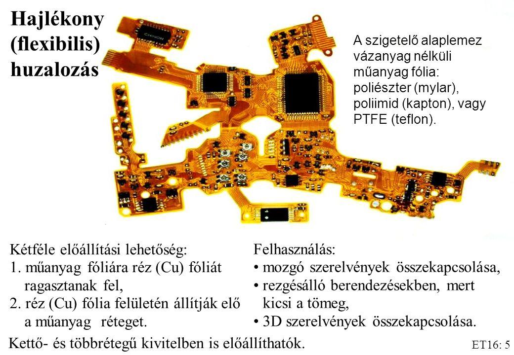 ET16: 5 Kétféle előállítási lehetőség: 1.műanyag fóliára réz (Cu) fóliát ragasztanak fel, 2.